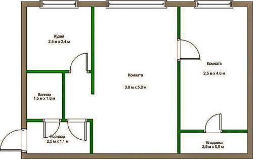 3 х комнатная планировка хрущевка. Переделка двухкомнатной хрущевки