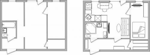 План хрущевки с размерами двухкомнатной квартиры. Реальные примеры перепланировки хрущевки