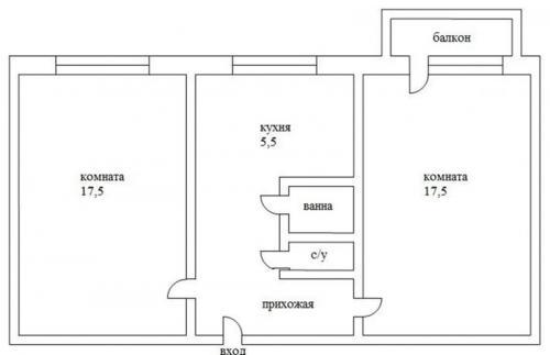 Схема двухкомнатной квартиры хрущевки. Варианты планировки
