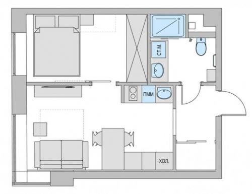 Проект студии из однокомнатной квартиры. Готовые схемы проектов переделки однокомнатной квартиры в двухкомнатную разной площади